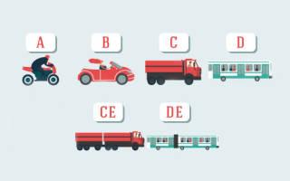 Категории транспортных средств 2020 год в таблице